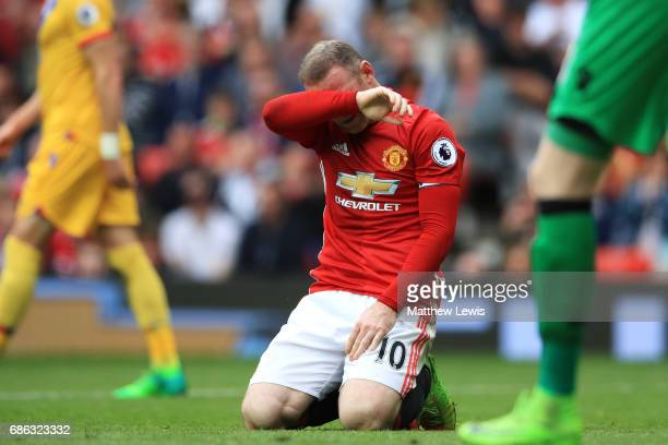 Wayne Rooney of Mancheser United reacts during the Premier League match between Manchester United and Crystal Palace at Old Trafford on May 21 2017...
