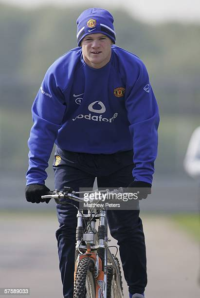 May 12: Wayne Rooney of Manchester United and England continues his recovery process on a bike after breaking the fourth metatarsal in his right...