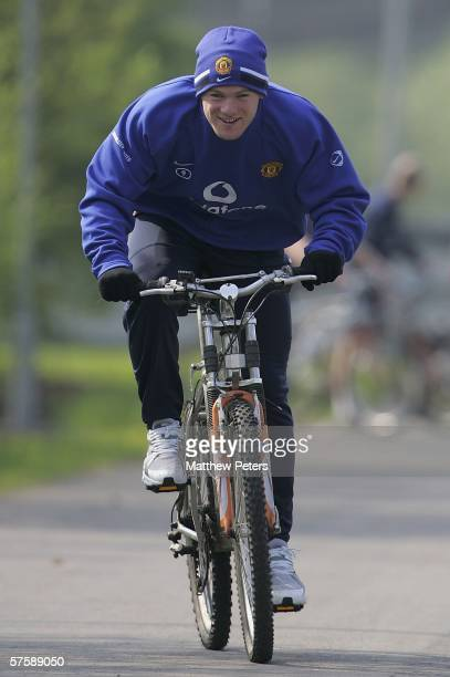 May 12: Wayne Rooney of Manchester United and England continues his recovery process on a bike after breaking the fourth metatarsal in his right foot...