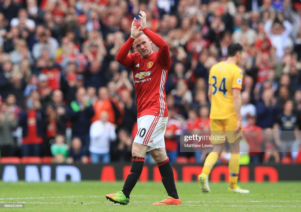 Wayne Rooney of Manchester United applauds supporters as he is subtituted during the Premier League match between Manchester United and Crystal Palace at Old Trafford on May 21, 2017 in Manchester, England.