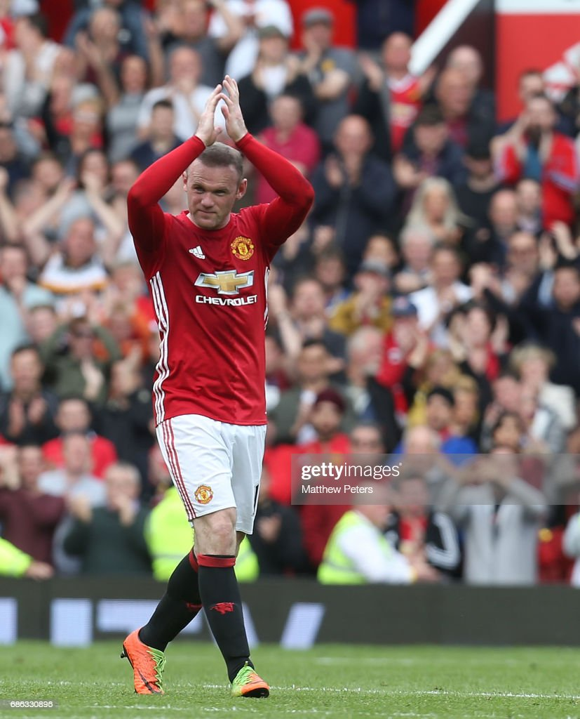 Wayne Rooney of Manchester United applauds the fans after being substituted during the Premier League match between Manchester United and Crystal Palace at Old Trafford on May 21, 2017 in Manchester, England.