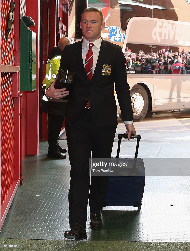 Wayne Rooney of Manchester United arrives ahead of the Barclays Premier League match between Manchester United and Aston Villa at Old Trafford on April 16, 2016 in Manchester, United Kingdom.