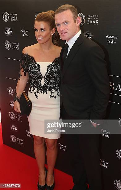 Wayne Rooney of Manchester United arrives with his wife Coleen Rooney ahead of the Manchester United Player of the Year awards at Old Trafford on May...