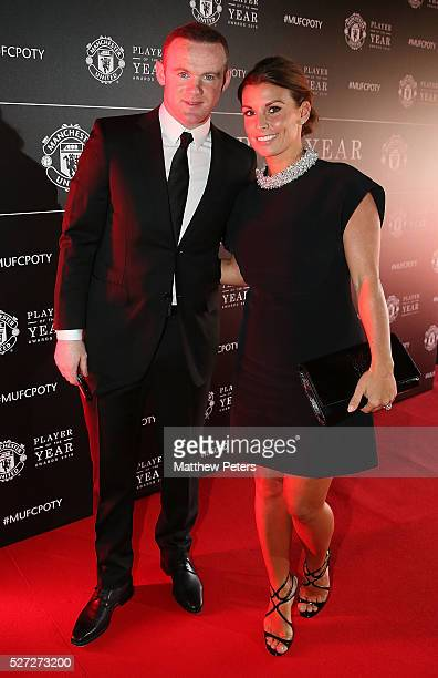 Wayne Rooney of Manchester United arrives with his wife Coleen Rooney at the club's annual Player of the Year awards at Old Trafford on May 2 2016 in...