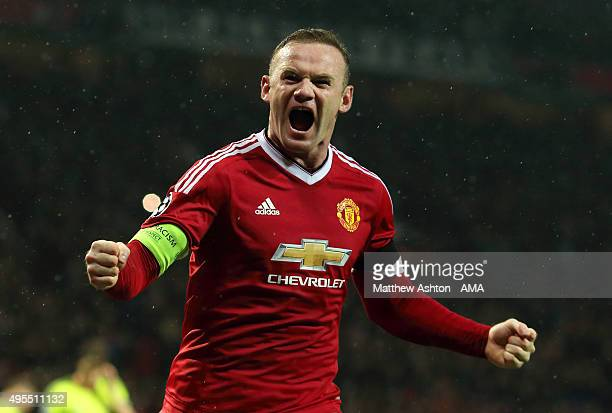 Wayne Rooney of Manchester United celebrates after scoring a goal to make it 10 during the UEFA Champions League match between Manchester United FC...