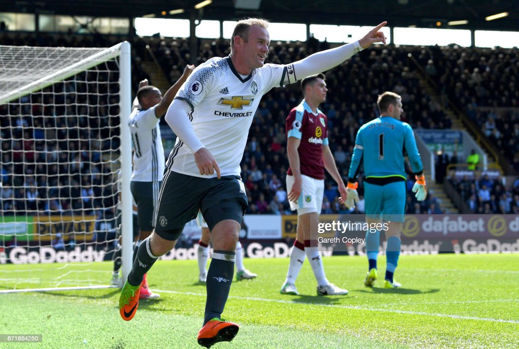 Wayne Rooney of Manchester United celebrates after scoring his team's second goal during the Premier League match between Burnley and Manchester United at Turf Moor on April 23, 2017 in Burnley, England.