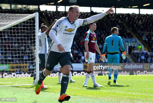Wayne Rooney of Manchester United celebrates after scoring his team's second goal during the Premier League match between Burnley and Manchester...