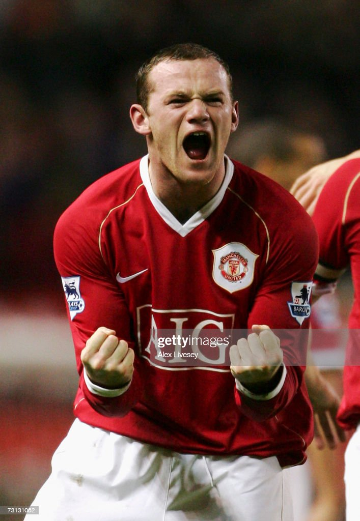 Wayne Rooney of Manchester United celebrates after scoring his team's second goal during the FA Cup sponsored by E.ON Fourth Round match between Manchester United and Portsmouth at Old Trafford on January 27, 2007 in Manchester, England.