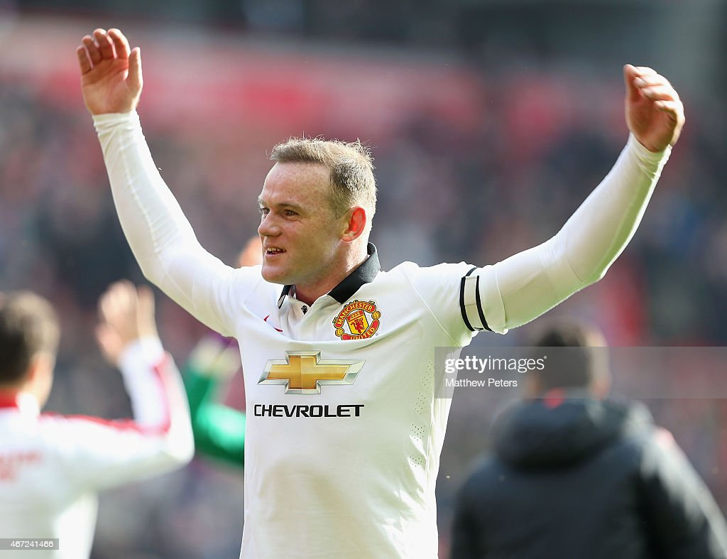 Wayne Rooney of Manchester United celebrates after the Barclays Premier League match between Liverpool and Manchester United at Anfield on March 22, 2015 in Liverpool, England.