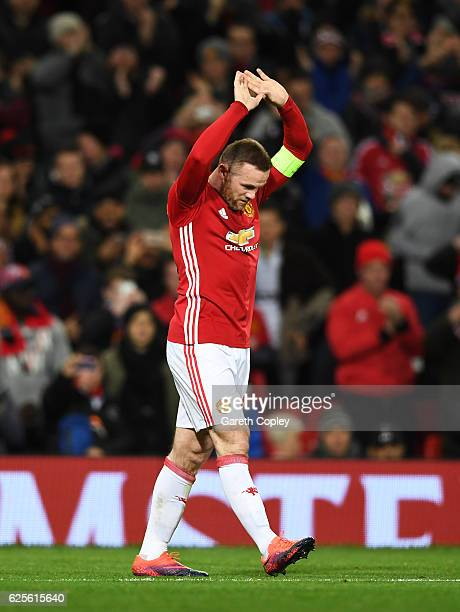 Wayne Rooney of Manchester United celebrates as he scores their first goal during the UEFA Europa League Group A match between Manchester United FC...