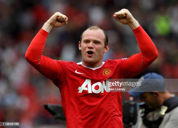 Wayne Rooney of Manchester United celebrates at the end of the Barclays Premier League match between Manchester United and Chelsea at Old Trafford on...