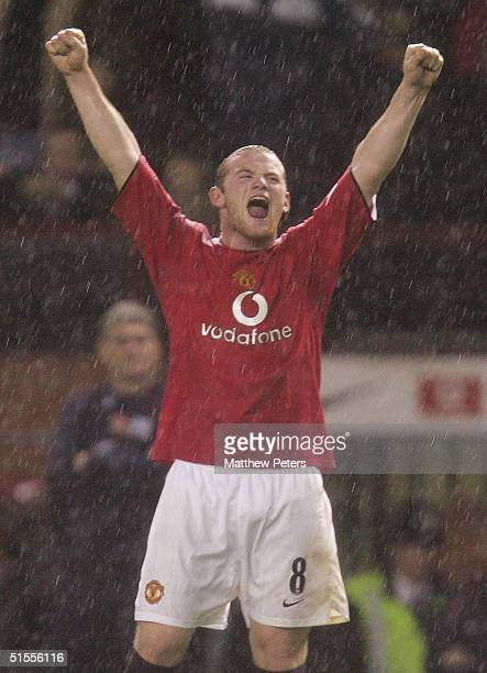 Wayne Rooney of Manchester United celebrates at the final whistle of the Barclays Premiership match between Manchester United and Arsenal at Old...