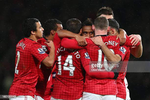 Wayne Rooney of Manchester United celebrates scoring his team's second goal with his teammates during the FA Cup with Budweiser Fourth Round match...