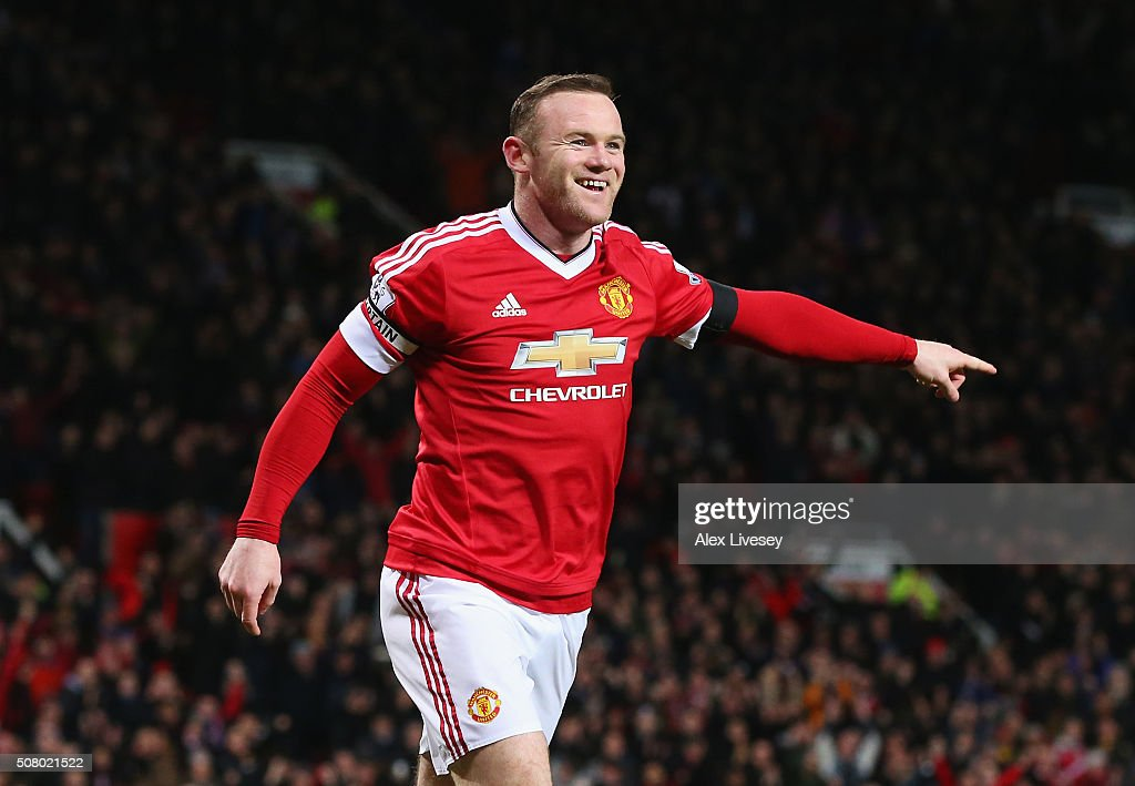 Wayne Rooney of Manchester United celebrates scoring his team's third goal during the Barclays Premier League match between Manchester United and Stoke City at Old Trafford on February 2, 2016 in Manchester, England.