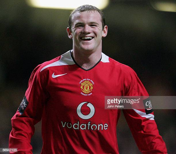 Wayne Rooney of Manchester United celebrates scoring the fourth goal during the Carling Cup Final match between Manchester United and Wigan Athletic...