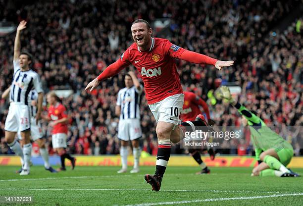 Wayne Rooney of Manchester United celebrates scoring the opening goal during the Barclays Premier League match between Manchester United and West...