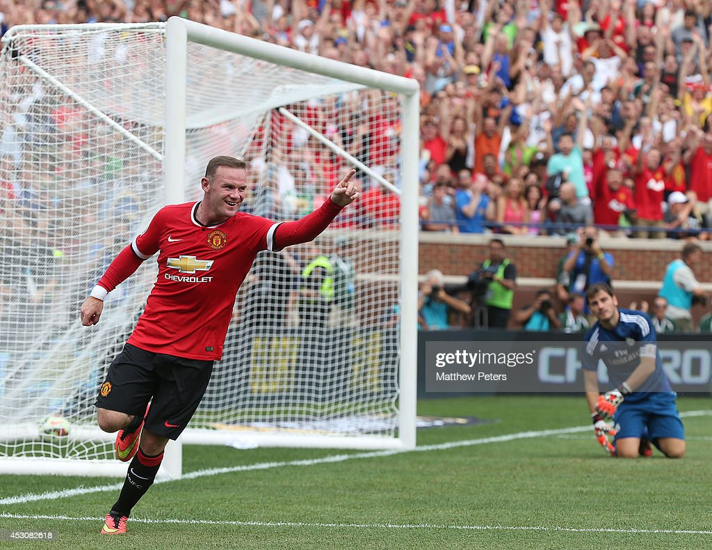Wayne Rooney of Manchester United celebrates scoring the second goal during the pre-season friendly match between Manchester United and Real Madrid at Michigan Stadium on August 2, 2014 in Ann Arbor, Michigan.