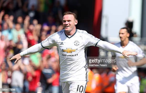 Wayne Rooney of Manchester United celebrates scoring the second goal to make the score 02 during the Premier League match between AFC Bournemouth and...