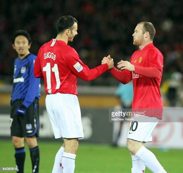 Wayne Rooney of Manchester United celebrates scoring their fifth goal during the FIFA World Club Cup Semi-Final match between Gamba Osaka and...