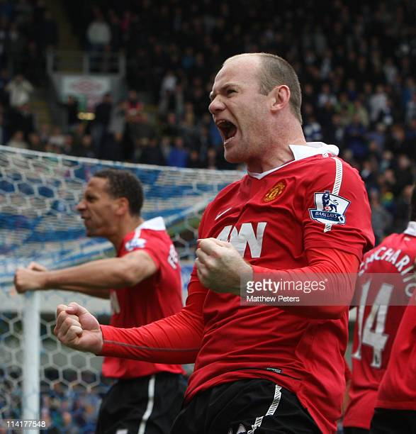 Wayne Rooney of Manchester United celebrates scoring their first goal during the Barclays Premier League match between Blackburn Rovers and...