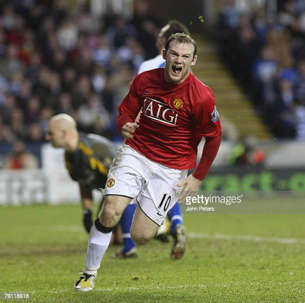 Wayne Rooney of Manchester United celebrates scoring their first goal during the Barclays FA Premier League match between Reading and Manchester...