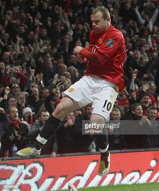 Wayne Rooney of Manchester United celebrates scoring their first goal during the FA Cup sponsored by eon Fifth Round match between Manchester United...