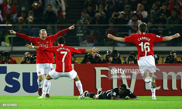 Wayne Rooney of Manchester United celebrates scoring their first goal with Cristiano Ronaldo during the FIFA Club World Cup Japan 2008 final match...