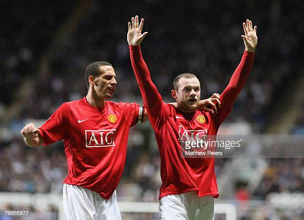 Wayne Rooney of Manchester United celebrates scoring their fourth goal during the Barclays FA Premier League match between Newcastle United and...