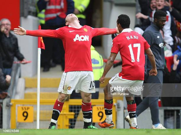 Wayne Rooney of Manchester United celebrates scoring their second goal during the Barclays Premier League match between Manchester United and...