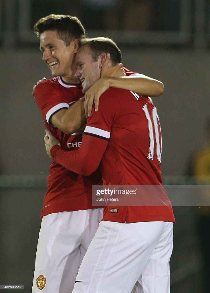 Wayne Rooney of Manchester United celebrates scoring their second goal during the pre-season friendly match between Los Angeles Galaxy and Manchester United at Rose Bowl on July 23, 2014 in Pasadena, California.