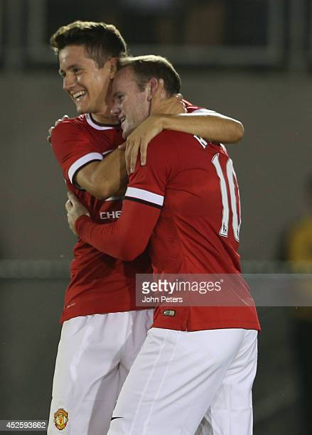 Wayne Rooney of Manchester United celebrates scoring their second goal during the preseason friendly match between Los Angeles Galaxy and Manchester...