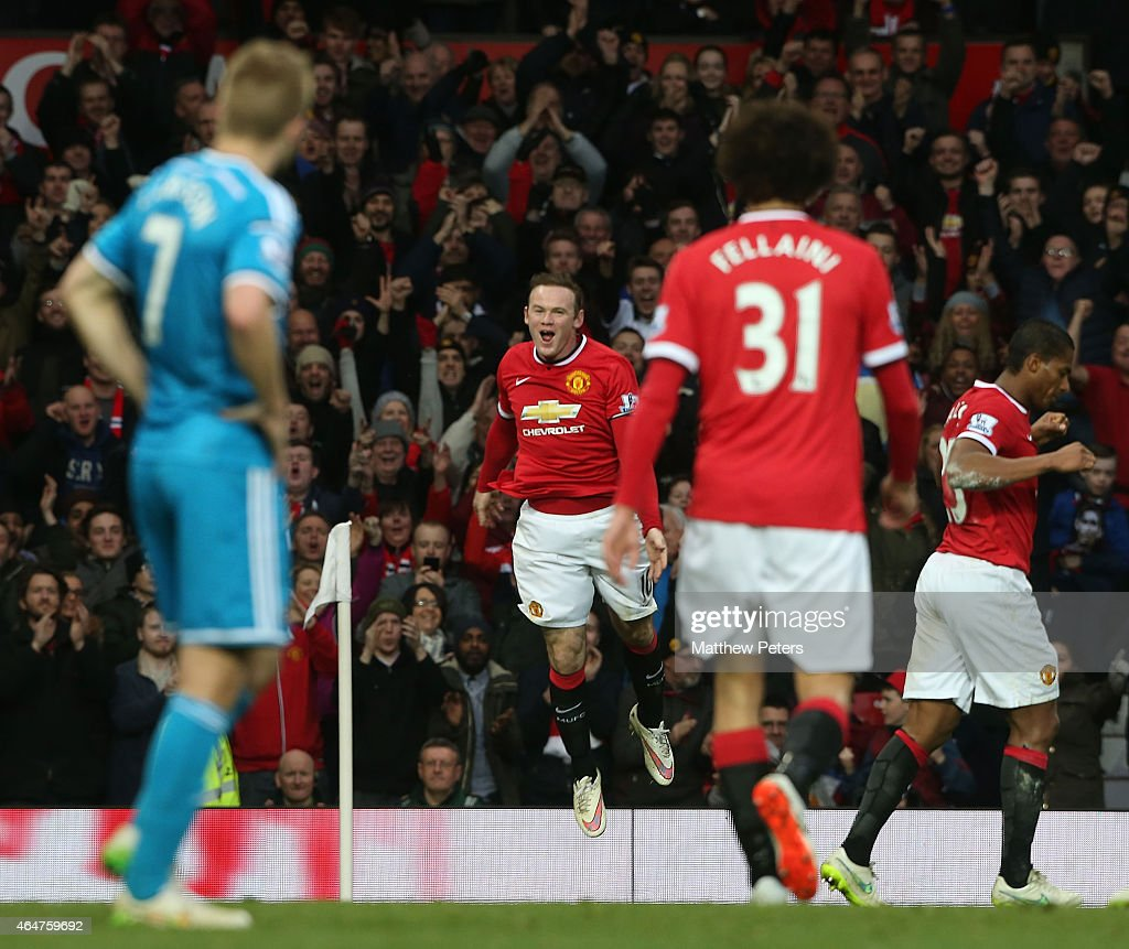 Wayne Rooney of Manchester United celebrates scoring their second goal during the Barclays Premier League match between Manchester United and Sunderland at Old Trafford on February 28, 2015 in Manchester, England.