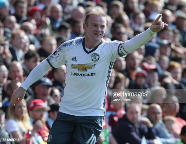 Wayne Rooney of Manchester United celebrates scoring their second goal during the Premier League match between Burnley and Manchester United at Turf...