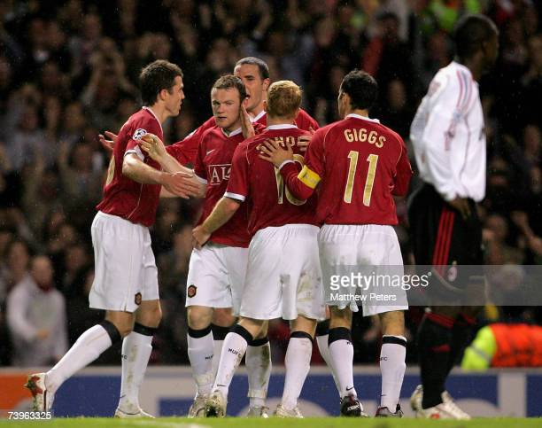 Wayne Rooney of Manchester United celebrates scoring their second goal during the UEFA Champions League SemiFinal first leg match between Manchester...