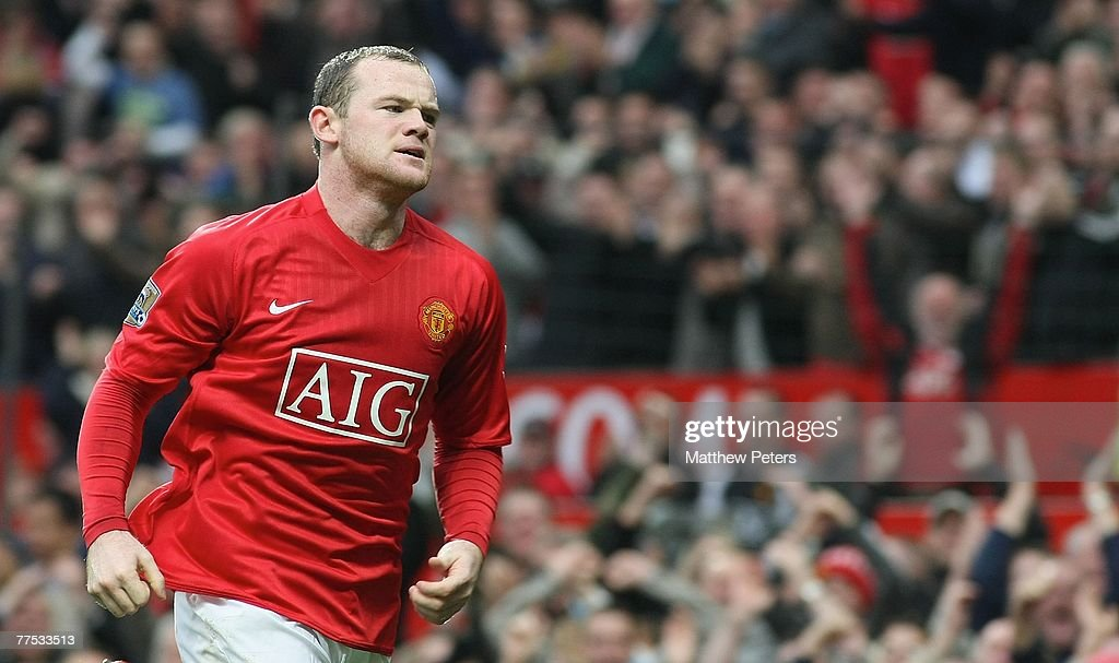 Wayne Rooney of Manchester United celebrates scoring their second goal during the Barclays FA Premier League match between Manchester United and Middlesbrough at Old Trafford on October 27 2007, in Manchester, England.