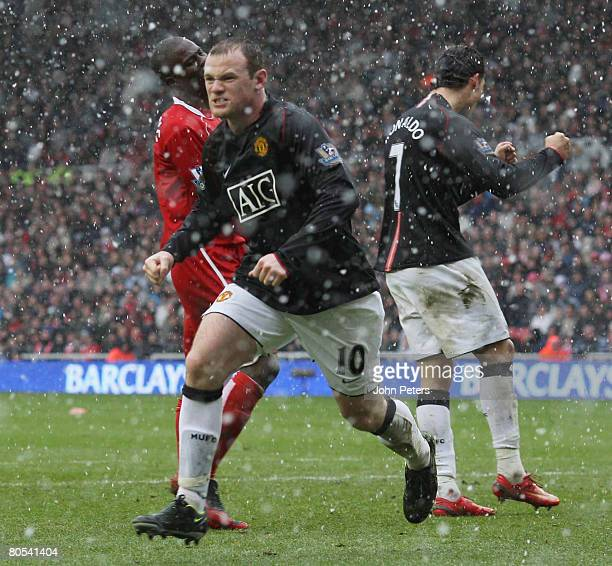 Wayne Rooney of Manchester United celebrates scoring their second goal during the Barclays FA Premier League match between Middlesbrough and...