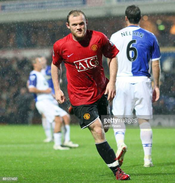 Wayne Rooney of Manchester United celebrates scoring their second goal during the Barclays Premier League match between Blackburn Rovers and...