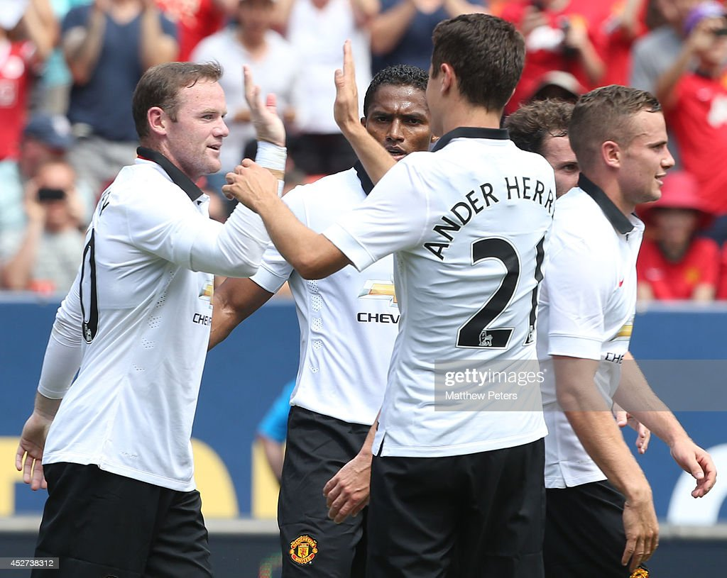 Wayne Rooney of Manchester United celebrates scoring their third goal during the pre-season friendly match between Manchester United and AS Roma at Sports Authority Field at Mile High on July 26, 2014 in Denver, Colorado.