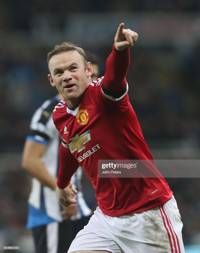 Wayne Rooney of Manchester United celebrates scoring their third goal during the Barclays Premier League match between Newcastle United and Manchester United at St James' Park on 12 January 2016 in Newcastle Upon Tyne, England.