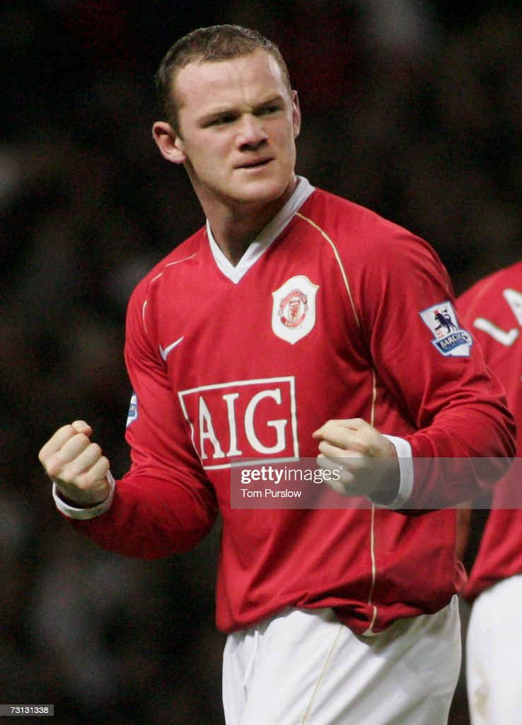 Wayne Rooney of Manchester United celebrates scoring United's second goal during the FA Cup sponsored by E.ON Third Round match between Manchester United and Portsmouth at Old Trafford on January 27 2007 in Manchester, England.