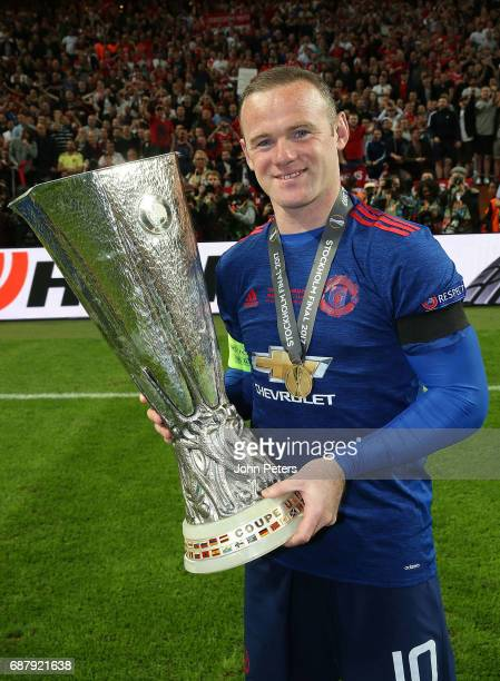 Wayne Rooney of Manchester United celebrates with the Europa League trophy after the UEFA Europa League Final match between Manchester United and...