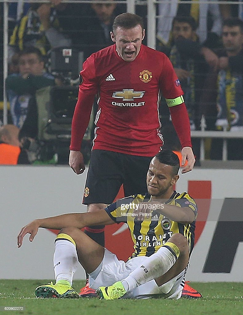 Wayne Rooney of Manchester United clashes with Josef of Fenerbahce during the UEFA Europa League match between Manchester United and Fenerbahce at sukru Saracoglu Stadium on November 3, 2016 in Istanbul, Turkey.
