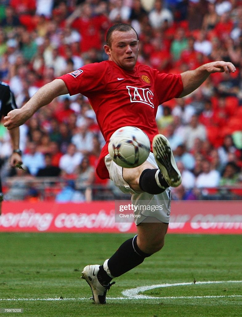 Wayne Rooney of Manchester United controls the ball during the FA Community Shield match between Chelsea and Manchester United at Wembley Stadium on August 5, 2007 in London,England.