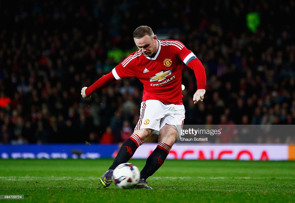 Wayne Rooney of Manchester United fails to score in the penalty shoot out during the Capital One Cup Fourth Round match between Manchester United and Middlesbrough at Old Trafford on October 28, 2015 in Manchester, England.