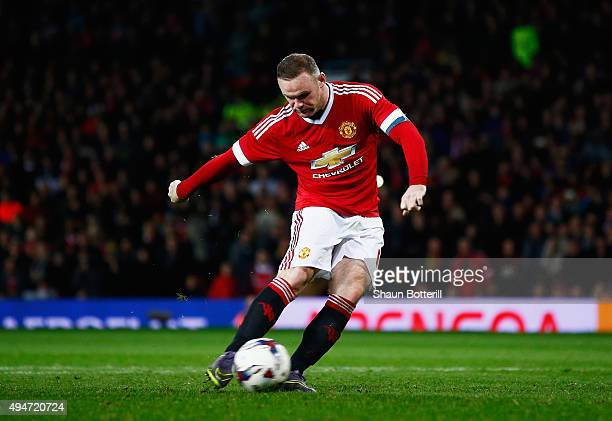Wayne Rooney of Manchester United fails to score in the penalty shoot out during the Capital One Cup Fourth Round match between Manchester United and...