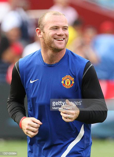 Wayne Rooney of Manchester United in action during a first team training session as part of their pre-season tour of the USA at FedExField on July...