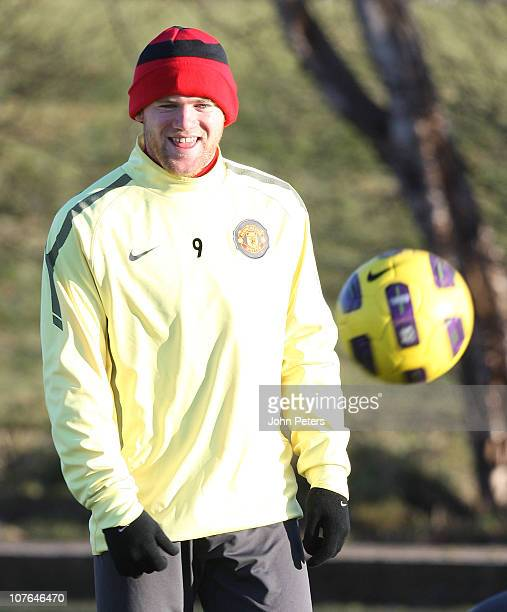 Wayne Rooney of Manchester United in action during a first team training session at Carrington Training Ground on December 17 2010 in Manchester...