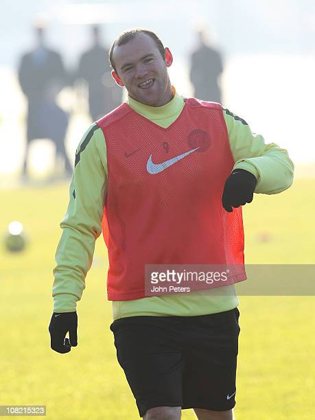 Wayne Rooney of Manchester United in action during a first team training session at Carrington Training Ground on January 21, 2011 in Manchester,...