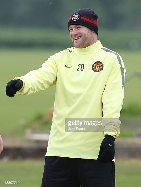 Wayne Rooney of Manchester United in action during a first team training session at Carrington Training Ground on May 6, 2011 in Manchester, England.