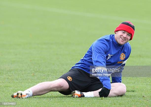 Wayne Rooney of Manchester United in action during a first team training session at Carrington Training Ground on November 18, 2011 in Manchester,...